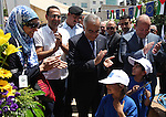 "Palestinian Prime Minister, Salam Fayyad participates in a celebration to mark ""Europe Day"" in the West Bank city of Ramallah on May 9, 2013. Europe Day, also known as Schuman Day, is an annual celebration of peace and unity in Europe and commemorating the historical declaration by French foreign minister Robert Schuman. Photo by Issam Rimawi"