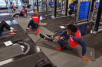 Leroy Fer and Wilfried Bony exercise in the gym during the Swansea City Training at The Fairwood Training Ground, Swansea, Wales, UK. Thursday 04 January 2018