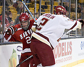 Louis Leblanc (Harvard - 20), Brian Dumoulin (BC - 2) - The Boston College Eagles defeated the Harvard University Crimson 6-0 on Monday, February 1, 2010, in the first round of the 2010 Beanpot at the TD Garden in Boston, Massachusetts.