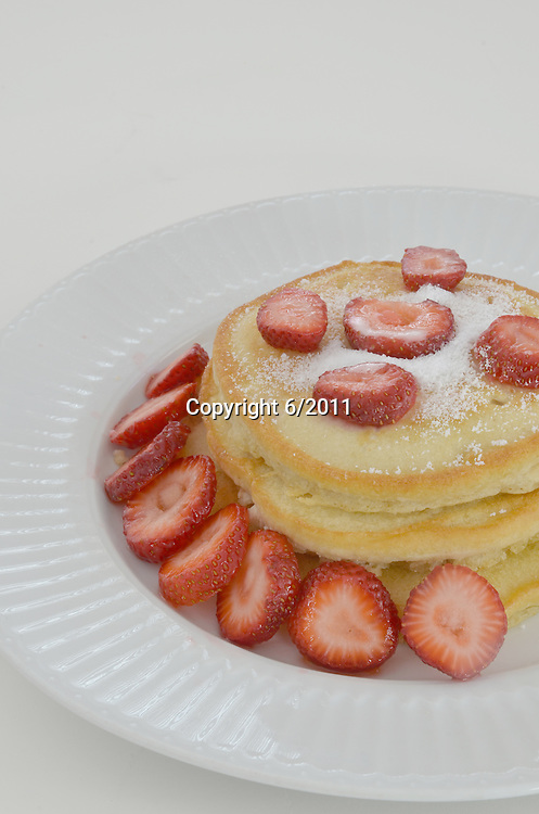 Stock photo of Strawberries and pancakes