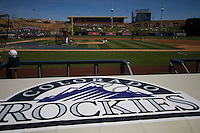 Logo Colorado Rockies in Salt River Fields Stadium in Scottsdale Arizona. Milwaukee Brewers vs diamondbacks match. Cactus League. spring training 2012. MLB.<br />