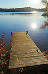 Early Morning Sunrise on a Quiet Dock on Island Pond in Stoddard, New Hampshire USA