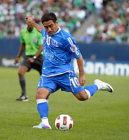El Salvador's Eliseo Quintanilla sends in a cross.  El Salvador defeated Cuba 6-1 at the 2011 CONCACAF Gold Cup at Soldier Field in Chicago, IL on June 12, 2011.