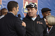 December 7, 2013  (Charlotte, North Carolina)  Florida State Seminoles head coach Jimbo Fisher talks about the game after winning the 2013 ACC Championship  against the Duke Blue Devils 45-7 at the Bank of America Stadium in Charlotte, NC.  (Photo by Don Baxter/Media Images International)