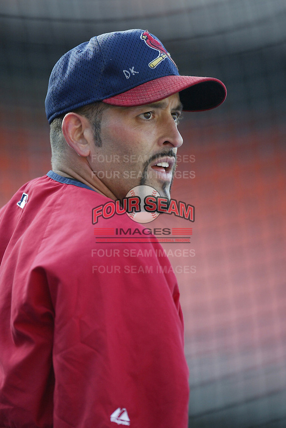 Fernando Vina of the St. Louis Cardinals before a 2002 MLB season game against the Los Angeles Dodgers at Dodger Stadium, in Los Angeles, California. (Larry Goren/Four Seam Images)