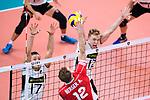 16.09.2019, Lotto Arena, Antwerpen<br />Volleyball, Europameisterschaft, Deutschland (GER) vs. …sterreich / Oesterreich (AUT)<br /><br />Block / Doppelblock Jan Zimmermann (#17 GER), Anton Brehme (#12 GER) - Angriff Alexander Berger (#12 AUT)<br /><br />  Foto © nordphoto / Kurth