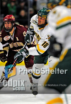 9 January 2009: University of Vermont Catamounts' forward Viktor Stalberg, a Junior from Gothenburg, Sweden, on the offensive during the first game of a weekend series against the Boston College Eagles at Gutterson Fieldhouse in Burlington, Vermont. The Catamounts scored with one second remaining in regulation time to earn a 3-3 tie with the visiting Eagles. Mandatory Photo Credit: Ed Wolfstein Photo