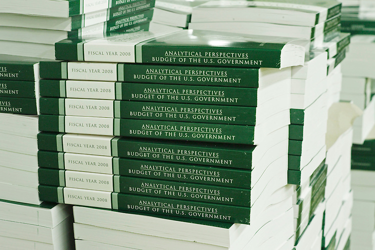 "02/01/07--Copies of a volume of the President's budget at the Government Printing Office during a photo op previewing its release Feb. 5. The budget, ""The Budget of the United States Government, Fiscal Year 2008,"" will be available in printed and electronic versions. The complete printed set of four volumes is 2,186 pages long, and weighs about 10 pounds. Congressional Quarterly Photo by Scott J. Ferrell"
