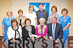 Kerry Person of the Year Luke Moriarty presented a cheque of ?7500 to Sr Helena in Killorglin on Saturday morning front row l-r: Maura Hughes Kerry Association Dublin, Mary Moriarty, Sr Helena and Luke Moriarty. Back row: Kathleen McCann, Nuala O'Sullivan, Bridget Mangan, Mike Francis Russell, Margaret Lawlor and Kathleen Clifford