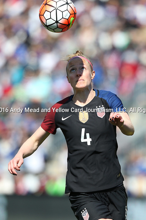 10 April 2016: Becky Sauerbrunn (USA). The United States Women's National Team played the Colombia Women's National Team at Talen Energy Stadium in Chester, Pennsylvania in an women's international friendly soccer game. The U.S. won the match 3-0.