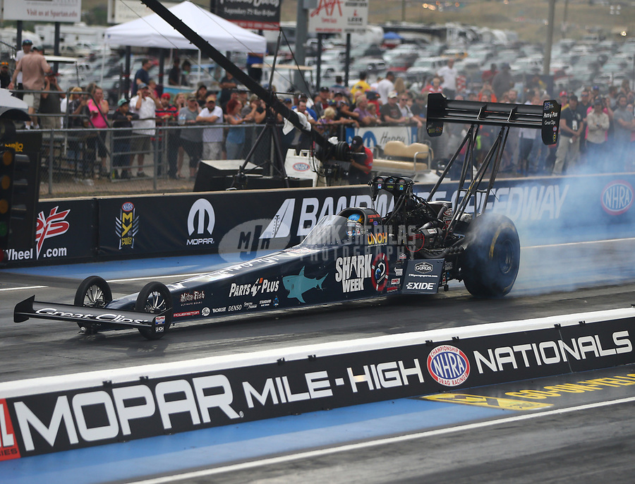 Jul 21, 2017; Morrison, CO, USA; NHRA top fuel driver Clay Millican during qualifying for the Mile High Nationals at Bandimere Speedway. Mandatory Credit: Mark J. Rebilas-USA TODAY Sports