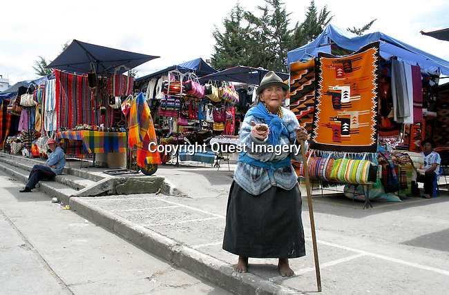 Otavalo, capital of Otavalo Canton, is a largely indigenous town in the Imbabura Province of Ecuador. The town has about 90,000 inhabitants and is surrounded by the peaks of Imbabura, (15,190 ft), Cotacachi (16,388 ft), and Mojanda volcanoes. <br /> Photo by Deirdre Hamill/Quest Imagery