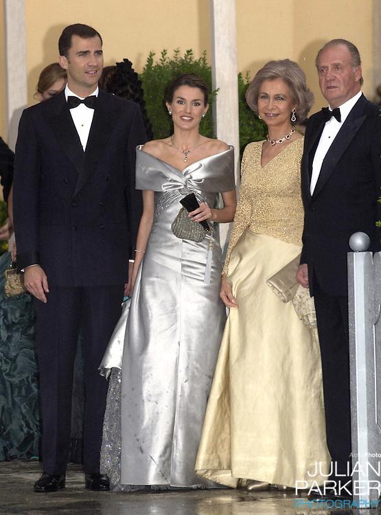 King Juan Carlos, Queen Sofia, Crown Prince Felipe of Spain & Letizia Ortiz Rocasolano attend a Gala Dinner at the El Pardo Royal Palace in Madrid..Picture: UK Press