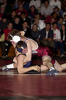Justin Walker wrestles against Urijah Faber of UC Davis on January 19, 2001 at Burnham Pavilion.