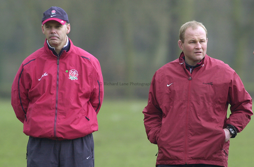 Photo:Ken Brown .28.2.2001 England Rugby Squad training at Sandhurst.Clive Woodward and assistant Andy Robinson