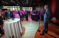 President Jonathan Veitch<br /> Special guests, Trustees, alumni, faculty and staff gather for the dedication reception for Occidental College's newly opened Oxy Arts building on York Boulevard on Oct. 3, 2019. Oxy Arts is Oxy's community art center located in Highland Park, one block south of campus.<br /> (Photo by Marc Campos, Occidental College Photographer)