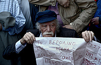 Pictured: Manolis Glezos attends a protest against the German compensation. STOCK PICTURE<br /> Re: Manolis Glezos, who took down a flag with a swastika from the Acropolis 30th of May 1941.