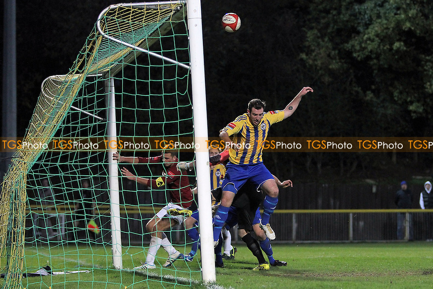 Nick Reynolds scores the second and winning goal for Romford - Romford vs Potters Bar Town - Ryman League Division One North Football at Ship Lane, Thurrock FC - 03/11/12 - MANDATORY CREDIT: Gavin Ellis/TGSPHOTO - Self billing applies where appropriate - 0845 094 6026 - contact@tgsphoto.co.uk - NO UNPAID USE.