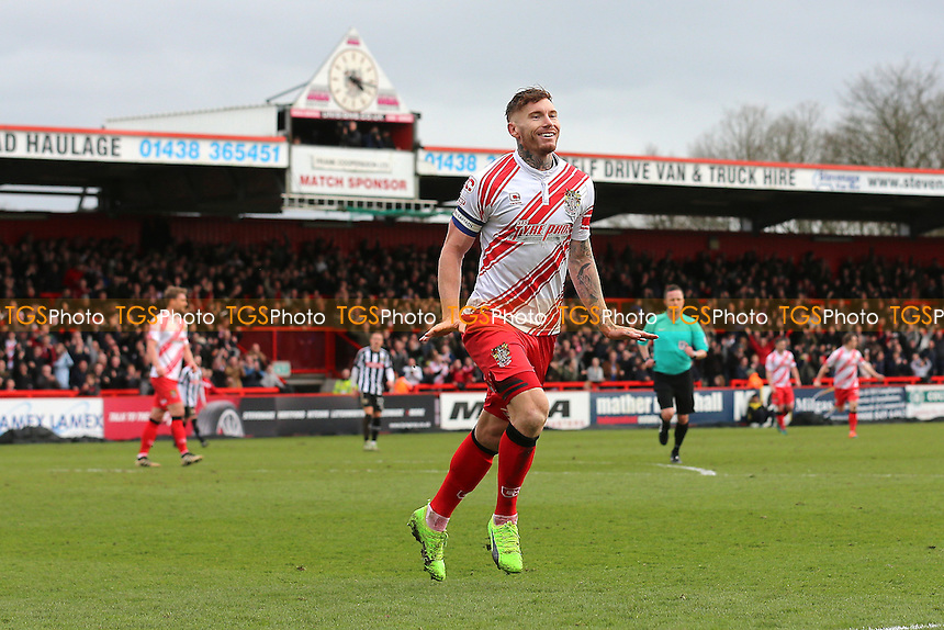 Jack King of Stevenage scores the second goal for his team and celebrates during Stevenage vs Notts County, Sky Bet EFL League 2 Football at the Lamex Stadium on 4th March 2017