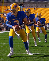 Pitt quarterbacks warm up including Ben Dinucci (3), Kenny Pickett (middle) and Thomas MacVittie. The North Carolina Wolfpack defeated the Pitt Panthers 35-17 at Heinz Field, Pittsburgh, PA on October 14, 2017.