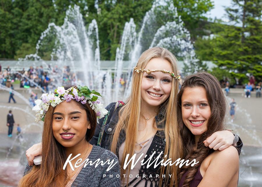 Portrait of three beautiful girls, Northwest Folklife Festival 2016, Seattle Center, Washington, USA.