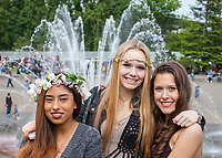 Portrait of three beautiful girls, Northwest Folklife Festival 2016, Seattle Center, Washington, USA.