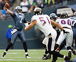 Seattle Seahawks quarterback Tarvaris Jackson passes against the Baltimore Ravens at  CenturyLink Field in Seattle, Washington on November 13, 2011. Jackson passed for 217 yards as in the Seahawks  22-17 win over the Ravens. ©2011 Jim Bryant Photo. All Rights Reserved.
