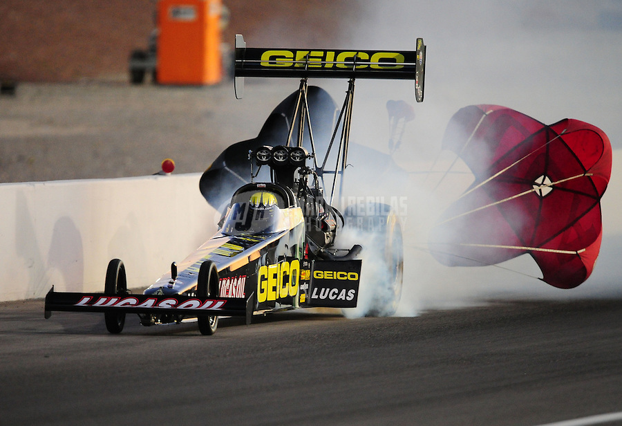 Oct. 28 2011; Las Vegas, NV, USA: NHRA top fuel dragster driver Morgan Lucas during qualifying for the Big O Tires Nationals at The Strip at Las Vegas Motor Speedway. Mandatory Credit: Mark J. Rebilas-US PRESSWIRE