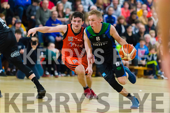 Darren O'Sullivan  Garveys Tralee Warriors in action against Ciaran Roe Pyrobel Killester at Tralee Sports Complex on Saturday night last.