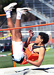 WATERTOWN CT. 16 April 2019-041619SV16-Jordan Arnold of Watertown competes on the high jump during a track meet at Watertown High in Watertown Tuesday. Watertown hosted Woodland and Torrington in NVL boys and girls track.<br /> Steven Valenti Republican-American