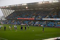 9th February 2020; The Den, London, England; English Championship Football, Millwall versus West Bromwich Albion; Millwall players warming up during Storm Ciara - Strictly Editorial Use Only. No use with unauthorized audio, video, data, fixture lists, club/league logos or 'live' services. Online in-match use limited to 120 images, no video emulation. No use in betting, games or single club/league/player publications