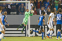 CARSON, CA - August 8, 2014: San Jose Earthquake goalie Jon Busch (18) makes a save during the LA Galaxy vs San Jose Earthquakes match at the StubHub Center in Carson, California. Final score, LA Galaxy 2, San Jose Earthquakes 2.