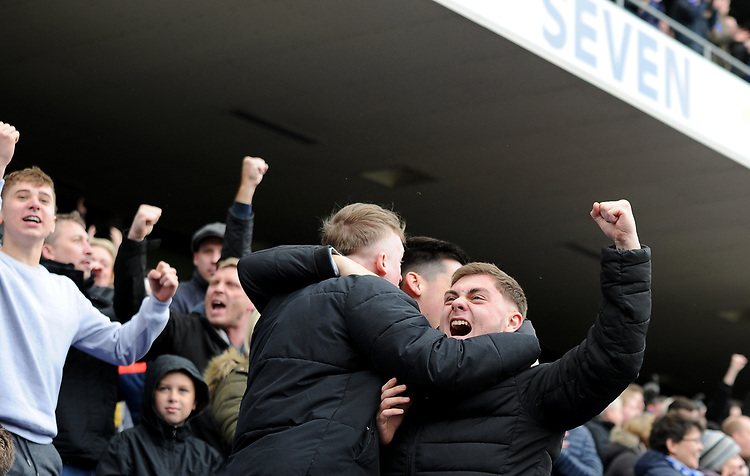 Ipswich fans cheering at their team winning the match 3-2<br /> <br /> Photographer Hannah Fountain/CameraSport<br /> <br /> The EFL Sky Bet Championship - Ipswich Town v Leeds United - Sunday 5th May 2019 - Portman Road - Ipswich<br /> <br /> World Copyright © 2019 CameraSport. All rights reserved. 43 Linden Ave. Countesthorpe. Leicester. England. LE8 5PG - Tel: +44 (0) 116 277 4147 - admin@camerasport.com - www.camerasport.com