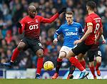 16.03.2019 Rangers v Kilmarnock: Steven Davis with Youssouf Mulumbu and Gary Dicker