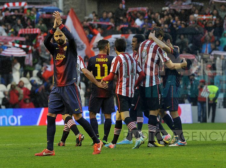 l-r: THIAGO (FC Barcelona), Markel SUSAETA (Athletic Bilbao), Fernando LLORENTE (Athletic Bilbao), Lionel MESSI (FC Barcelona)