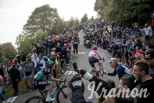 Giulio Ciccone (ITA/Trek-Segafredo) up the infamous Muro di Sormano (avg 17%/max 25%)<br /> <br /> 113th Il Lombardia 2019 (1.UWT)<br /> 1 day race from Bergamo to Como (ITA/243km)<br /> <br /> ©kramon