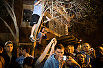 April 06, 2009. Chapel Hill, NC.. The UNC men's basketball team beat Michigan State 89-72 to win the 2009 NCAA men's title. Thousands of fans took to the streets of Chapel Hill to celebrate the victory.