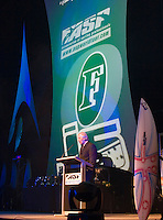 Gold Coast, Queensland, Australia. February 26 2006.<br />  Wayne 'Rabbit' Bartholomew (AUS) President of the ASP addresses the crowd at the ASP Awards Banquet held at the Gold Coast Convention Centre. circa 2006.<br /> Photo joliphotos.com