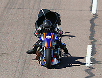 Feb 23, 2019; Chandler, AZ, USA; NHRA top fuel Harley Davidson nitro motorcycle rider Jay Turner during qualifying for the Arizona Nationals at Wild Horse Pass Motorsports Park. Mandatory Credit: Mark J. Rebilas-USA TODAY Sports