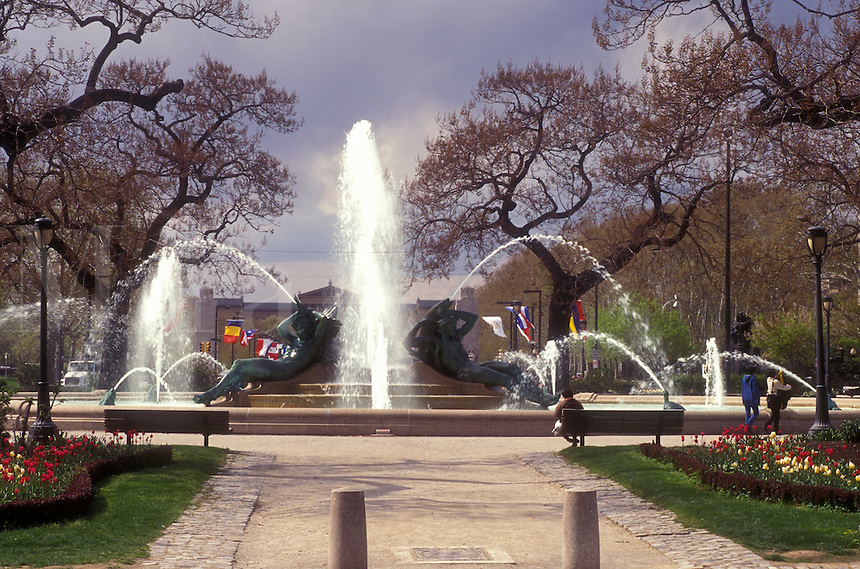 AJ1185, Philadelphia, fountain, Pennsylvania, Fountain at Logan Circle in early spring in downtown Philadelphia, Pennsylvania. The fountain was cast by Alexander Stirling Calder.