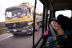 Basque prisoners relatives sleeping in the van in their way back home after having visited their loved ones in Herrera de la Mancha prison (Manzanares, Ciudad Real province). Saturday, November, 18th, 2006. Basque prisoners are dispersed on Spanish and French prisons. Usually their relatives travel together using vans driven by volunteers who they call themselves 'Mirentxin' (something similar to 'little Mari'). (Bostok Photo/Gari Garaialde)