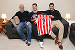 Dany Verlinden with his son Thibaud Verlinden and their agent  at their flat in Newcastle under Lyne -  Football - Barclays Premier League - Stoke City