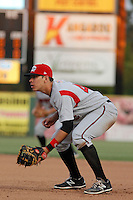 Carolina Mudcats first baseman Joey Meneses (44) in the field during game two of a doubleheader against the Myrtle Beach Pelicans at Ticketreturn.com Field at Pelicans Ballpark on June 6, 2015 in Myrtle Beach, South Carolina. Carolina defeated Myrtle Beach 4-2. (Robert Gurganus/Four Seam Images)