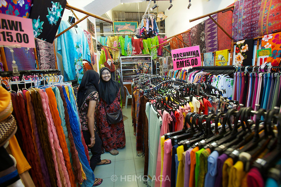 Malaysia, Kuala Lumpur. Central Market. Traditional clothing.