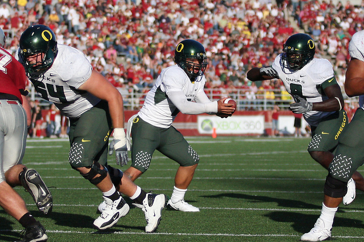 Oregon quarterback Jeremiah Masoli (#2), runs the offense during the Ducks Pac-10 conference game against the Washington State Cougars at Martin Stadium in Pullman, Washington, on September 27, 2008.