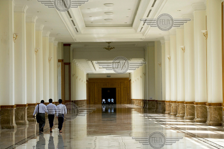 The main corridor in the Pyidaungsu Hluttaw or Assembly of the Union (Burmese parliament), the assembly is a housed in a 31-building complex and is comprised of two houses; Amyotha Hluttaw, or upper house of nationalities, and Pyithu Hluttaw or lower house.