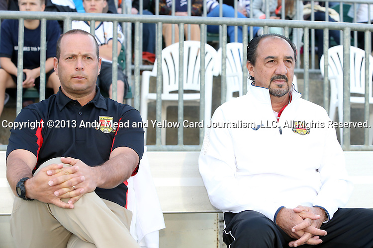 20 April 2013: Fort Lauderdale head coach Daryl Shore (left) with goalkeeper coach Ricardo Lopes (BRA) (right). The Carolina RailHawks played the Fort Lauderdale Strikers at WakeMed Stadium in Cary, North Carolina in a North American Soccer League Spring 2013 Season regular season game.