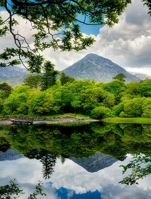 Still waters of Ballynahinch River. Connemara. County Galway, Ireland