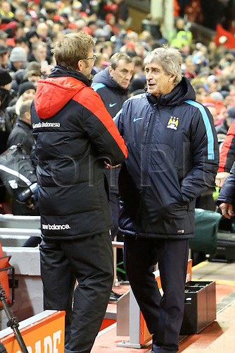 02.03.2016. Anfield Stadium, Liverpool, England. Barclays Premier League. Liverpool versus Manchester City<br /> Manuel Pellegrini,manager of Manchester City is greeted by Jurgen Klopp, Liverpool manager