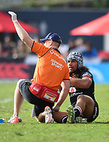 An injured Isaiah Papalii.<br /> NRL Premiership. Vodafone Warriors v Gold Coast Titans. Mt Smart Stadium, Auckland, New Zealand. March 17 2018. &copy; Copyright photo: Andrew Cornaga / www.Photosport.nz